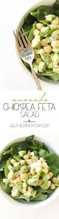 This is a super simple 'snack' style Avocado Chickpea Feta Salad is made with just a few simple ingredients that you can serve all on it's own or top it over some baby kale and spinach! It's vegetarian and requires no heat to make it. TheSkinnyFork.com | Skinny & Healthy Recipes