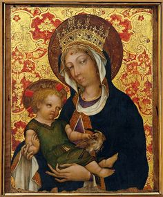 Michele Giambono - Madonna con Bambino che tiene in mano i… Early Christian, Christian Art, Religious Icons, Religious Art, Mother Mary, Mother And Child, Renaissance, Byzantine Art, Madonna And Child