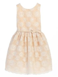 ee7c6213d959 Champagne Flower Embroidered Mesh Flower Girl Dress (Available in Sizes  Infant-12