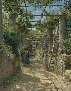 In the Shadow of an Italian Pergola - Capri, 1884 by Peder Mork Monsted (Danish Landscape Arquitecture, Capri, Dappled Light, Claude Monet, Love Art, Les Oeuvres, Landscape Paintings, Henri Matisse, Sculpture