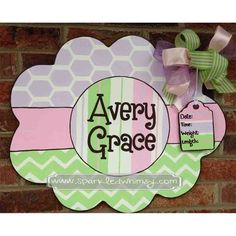 Chevron+Honeycomb+Baby+Sign+and+Door+Hanger+for+by+SparkledWhimsy,+$45.00