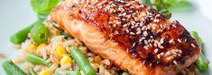 Łosoś teriyaki z brązowym ryżem, zieloną fasolką i kukurydzą | Blog | Kwestia Smaku