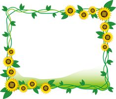 フリーイラスト ひまわりの花と葉の飾り枠