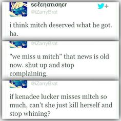 this is just wrong on so many levels. one directions fans are horrible. mitch lucker was many peoples' hero. and telling his little daughter to kill herself? that is just even worse. telling her to kill herself because she misses her dad so much is messed up because of course she would miss him!he was the one who put her to sleep,and played with her, and loved her. mitch lucker was a great person and doesnt deserve all this hate. I hate people who say this to anybody!!!<<AGREED!!!!<<<i know…
