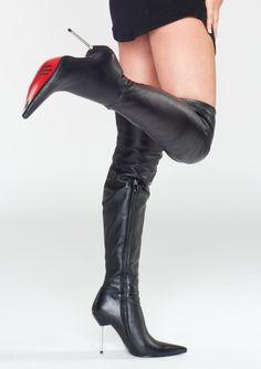 Zwarte overknee laarzen met paarse zool en hoge naaldhakken