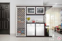 Looking for interior designers in Whitefield Bangalore? Livspace dressed this simple and modern in pretty neutrals. Take a tour! Living Room Partition Design, Pooja Room Door Design, Room Partition Designs, Bedroom Cupboard Designs, Wardrobe Design Bedroom, Flat Interior, Hall Interior Design, Hall Design, Interior Stairs