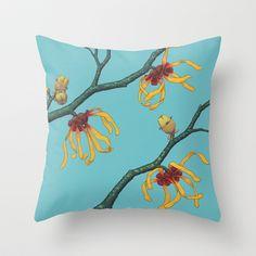 Witch Hazels - Hamamelis Throw Pillow by Kate Halpin #witchhazel #botanicalart #hamamelis #floweringtrees #branches