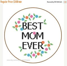 ON SALE mothers day cross stitch Pattern Instant Download Best Mom Ever cute and colourful quote DIY mothers day gift mama love cushions ora by ZindagiDesigns on Etsy https://www.etsy.com/listing/184986089/on-sale-mothers-day-cross-stitch-pattern