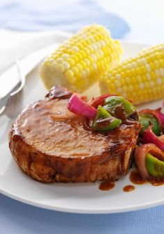Saucy Barbecued Pork Chop Skillet – Honey BBQ sauce, onions and green peppers take to the skillet for this sweet and savory take on pork chop night.