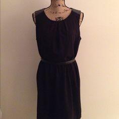 BLACK DRESS Black dress, vegan leather shoulder, back zip, with belt included.  Polyester, spandex. Forever 21 Dresses