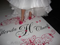 Hand painted to match her shoes   http://www.weddingwire.com/ArtisticAisleRunners www.artisticaislerunners.com