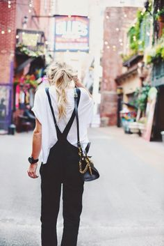 overalls via happily grey Looks Style, Style Me, Simple Style, Black And White Outfit, Black White, Look Fashion, Womens Fashion, Net Fashion, White Fashion