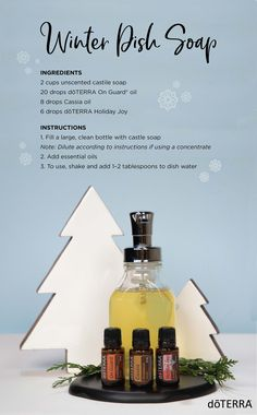DIY Dish Soap Add a fun winter scent to your dish soap for the season by trying this twist on our favorite dish soap DIY. Essential Oil Cleaner, Essential Oils Cleaning, Galaxy Slime, Doterra Recipes, Soap Recipes, On Guard Oil, Soap Note, Doterra Essential Oils, Aromatherapy