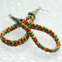 Holiday Dangle Hoop Earrings - Kumihimo Braids   M2bC - Jewelry on ArtFire