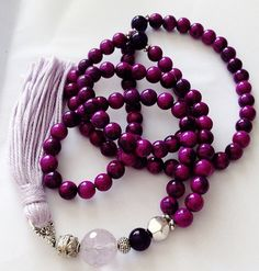 Turkish Islamic 99 Prayer Beads, Tesbih, Tasbih, Misbaha, Sufi, Worry Beads, Necklace, Amethyst, Sugilite on Etsy, $45.00