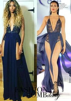 Hot! or Hmm… Ciara's Instagram Michael Costello Capsule Collection 2017 Navy Sheer Embellished Slit Gown