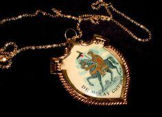 GORGEOUS KNIGHTS TEMPLAR Antique DEMOLAY COLOR ART BADGE Necklace! RARE Masonic!