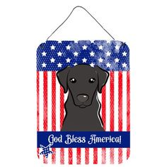 God Bless American Flag with Black Labrador Wall or Door Hanging Prints, Size: 16, Multi-color