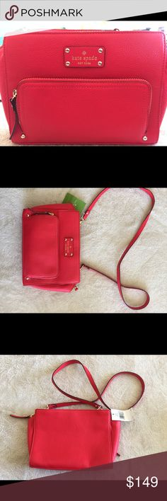 """Kate Spade Baxter Street Leather Sevilla Kate Spade Baxter Street Leather Sevilla 'geranium' NWT. Brand new purse with tags! Retails for $298, great price and great for a gift!  Approx 9"""" long, 7"""" high, 2.5"""" wide. I have 2 available! kate spade Bags Shoulder Bags"""