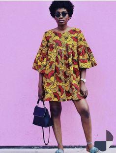Yellow and Red Ankara Shift Dress – Efia Fashions African Fashion Ankara Short Gown Styles, Short African Dresses, African Blouses, Short Gowns, African Print Dresses, African Fashion Ankara, African Inspired Fashion, African Print Fashion, Africa Fashion