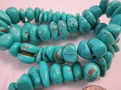 Close Out  Turquoise Beads  Blue Chip Nugget by FLcowgirls, $2.99