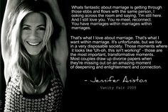 """Jennifer Aniston Marriage quote. From the '09 """"sensitivity chip"""" article... this quote was overlooked but much better. She has good points."""