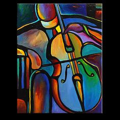Daneshi Original Acrylic Painting Abstract Art Music Cello Musicians | eBay