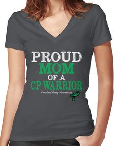 67f6608a20a Proud Mom Cerebral Palsy Awareness With Green Ribbon Women s Fitted V-Neck  T-Shirt