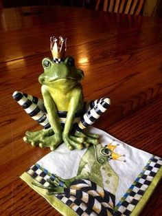 Whimsical Hand Painted Frog Prince Black & by WhimsicalChecks
