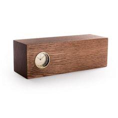 Tube Wood Clock - Brass/Brown Oak - Leff amsterdam + Piet Hein Eek - Vertigo Home