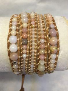 New Auth Chan Luu Graduated Pink Opal Mix Wrap Bracelet on Light Brown Leather   eBay