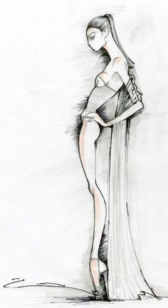 New York Fashion Week Spring GOTTEX SS 2010 sneak peek Molly Grad debuts her vision as the head of design for swimwear brand Gottex September at Fashion Illustration Sketches, Fashion Sketchbook, Illustration Mode, Fashion Sketches, Dress Sketches, Drawing Fashion, Design Illustrations, Fashion Poses, Fashion Art