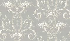 Versailles Urban (0284VEURBAN) - Little Greene Wallpapers - Versailles is inspired by a document which was printed in graded tones to produce a trompe l'oeil effect. A wallpaper featuring intricate scrollwork and blossoming flowers. Shown here in grey with off white detailing. Other colourways are available. Please request a sample for a true colour match.