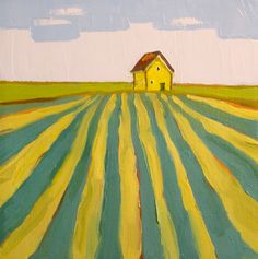 Golden Farmhouse- 8x8 Original Barn Oil Painting on Canvas- Farm Landscape. $75.00, via Etsy.