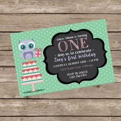 Owl Birthday Invitation by TrishaTreeDesigns on Etsy