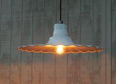 Hanging Industrial Enamel Pendant Lights - White Porcelain Radial Wave Industrial Lights - Restaurant Lights