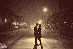 Indianapolis Night Winter Snow Engagement Picture