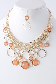 Blush Ova Necklace Set   Emma Stine Jewelry Bracelets
