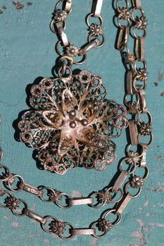 Vintage Mexican Sterling Silver Filigree Cannetille Chain Flower Pendant | eBay
