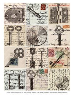 Steampunk Hardware on Vintage Postcards in inch squares — piddix digital collage sheet no. 543 – jannie beekman Steampunk Hardware on Vintage Postcards in inch squares — piddix digital collage sheet no. Vintage Labels, Vintage Ephemera, Vintage Postcards, Vintage Keys, Vintage Bookmarks, Papel Vintage, Vintage Paper, Collages D'images, Scrapbook Paper