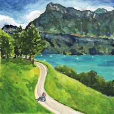 Original watercolor painting by Rachel Petruccillo of a cyclist riding past Lake Luzern in Switzerland.