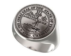 Signet Ring, Mens Ring, Personalized Ring, United States,Seal State, state of tennessee, Agriculture Logo,Engraved Round,925 Sterling Silver