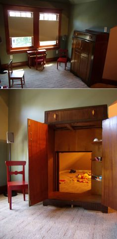 Narnia-like Wardrobe Hidden room, pretty cool for a childs play room, and you can easily hide the mess!