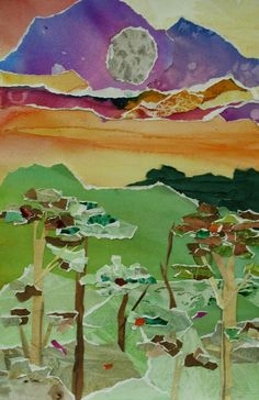 Watercolor Collage Landscape-might be cool to do wiht old magazines instead? #LandscapeCollage