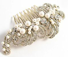 Vintage Style Gold Austrian Crystal Pearl Hair Comb Accessory Mother of Bride
