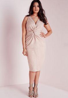 Plus Size Faux Suede Knot Front Dress Nude - Plus Size - Plus Size Dresses - Missguided