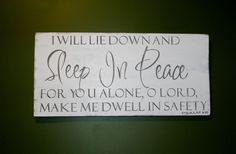 """I will lie down and sleep in Peace Sign, Psalm 4:8 Handmade White Distressed Rustic Wood Sign, Home Decor 24"""" x 11.25"""" x 3/4 """"Leigh Bradford by BradfordsWoodSigns on Etsy"""
