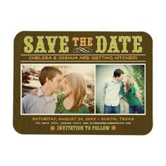Wedding Save the Date Magnet | Vintage Western Flexible Magnets