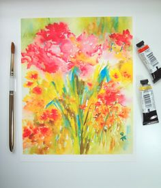 Garden View, Watercolor Fine Art Print, Watercolor Flowers, 8x10