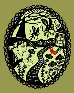 Wizard of Oz - Print of Original Papercut - 8x10 Fine Art Illustration. via SarahTrumbauer on Etsy.